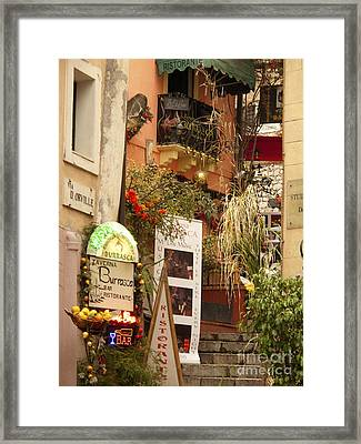 Taormina Steps Framed Print by David Smith