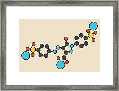 Tartrazine Food Dye Molecule Framed Print by Molekuul