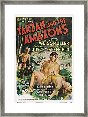 Tarzan And The Amazons, From Left Framed Print by Everett