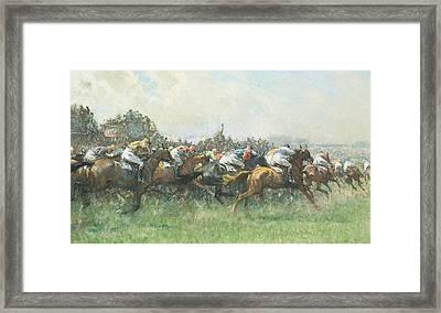 Tattenham Corner The Epsom Derby Framed Print by Gilbert Holiday