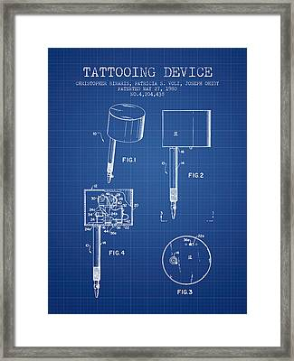 Tattooing Device Patent From 1980 - Blueprint Framed Print by Aged Pixel