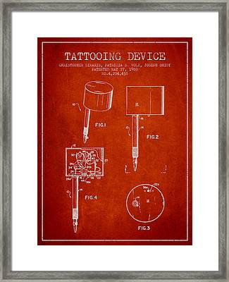 Tattooing Device Patent From 1980 - Red Framed Print by Aged Pixel