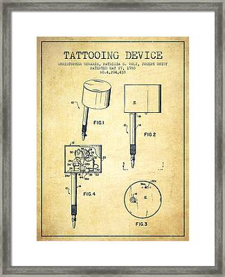 Tattooing Device Patent From 1980 - Vintage Framed Print by Aged Pixel