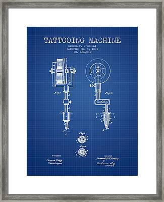 Tattooing Machine Patent From 1891 - Blueprint Framed Print by Aged Pixel