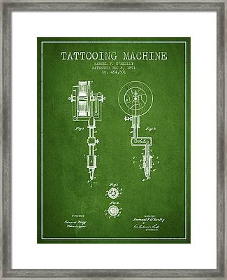 Tattooing Machine Patent From 1891 - Green Framed Print by Aged Pixel