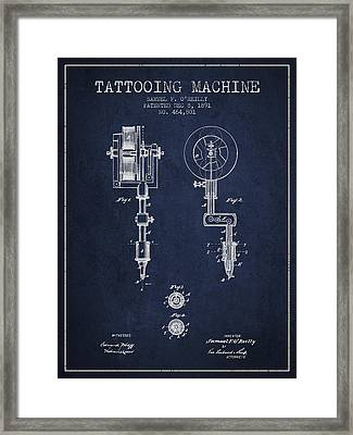 Tattooing Machine Patent From 1891 - Navy Blue Framed Print by Aged Pixel