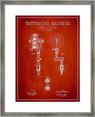 Tattooing Machine Patent From 1891 - Red Framed Print by Aged Pixel