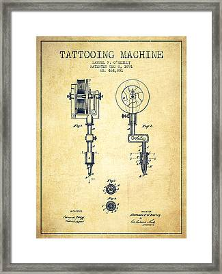 Tattooing Machine Patent From 1891 - Vintage Framed Print by Aged Pixel