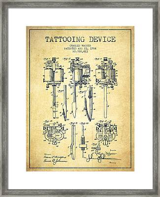 Tattooing Machine Patent From 1904 - Vintage Framed Print by Aged Pixel
