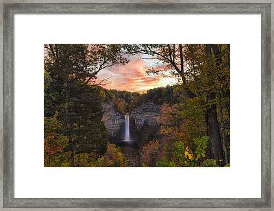 Taughannock Falls Autumn Sunset Framed Print by Michele Steffey
