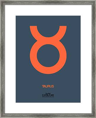 Taurus Zodiac Sign Orange Framed Print by Naxart Studio