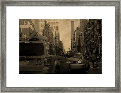 Taxi Traffic Jam In New York City Framed Print by Dan Sproul