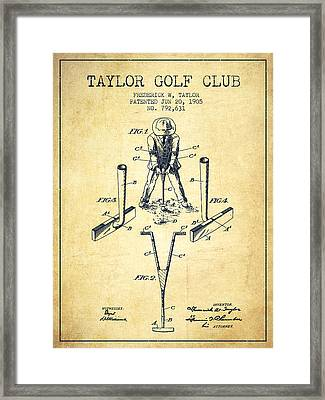Taylor Golf Club Patent Drawing From 1905 - Vintage Framed Print by Aged Pixel