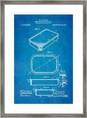 Taylor Sardine Can Patent Art 1914 Blueprint Framed Print by Ian Monk