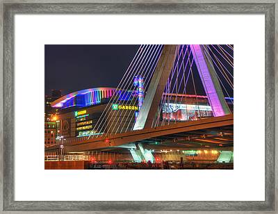 Td Garden And The Zakim Bridge In Pink Framed Print by Joann Vitali