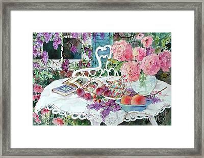 Tea And Wisteria Framed Print by Sherri Crabtree