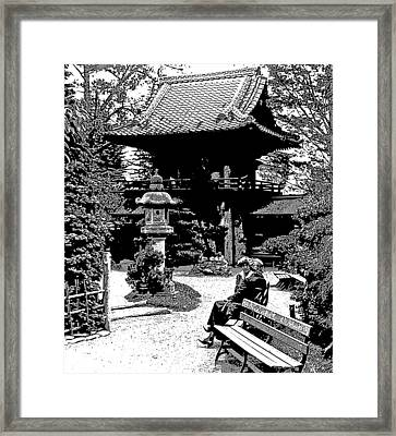 Framed Print featuring the photograph Tea Garden Golden Gate Park San Francisco 1915 by A Gurmankin