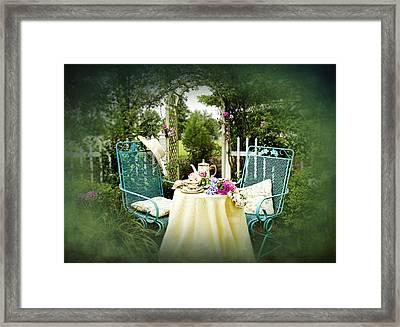 Tea In My Garden Framed Print by Trudy Wilkerson