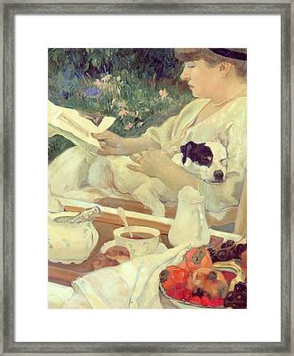 Tea In The Garden Framed Print by Leon Georges Carre