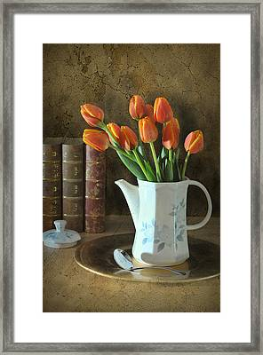 Tea Pot Of Tulips Framed Print by Diana Angstadt