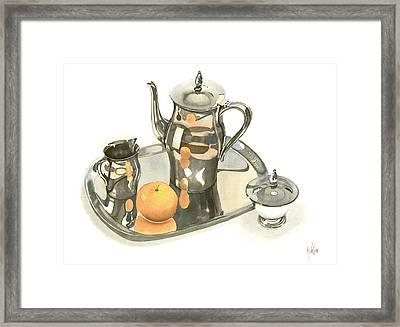 Tea Service With Orange Dramatic Framed Print by Kip DeVore