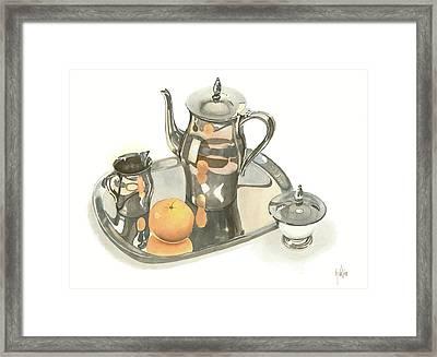 Tea Service With Orange Framed Print by Kip DeVore