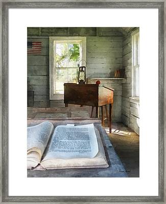 Teacher - One Room Schoolhouse With Book Framed Print by Susan Savad