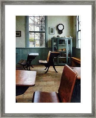 Teacher - One Room Schoolhouse With Clock Framed Print by Susan Savad