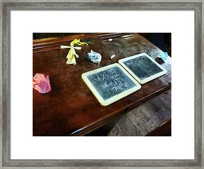 Teacher - School Slates Framed Print by Susan Savad