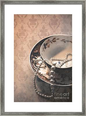Teacup And Pearls Framed Print by Jan Bickerton