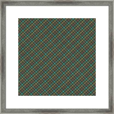 Teal And Green Diagonal Plaid Pattern Fabric Background Framed Print by Keith Webber Jr