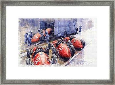Team Ferrari 500 F2 1952 French Gp Framed Print by Yuriy  Shevchuk