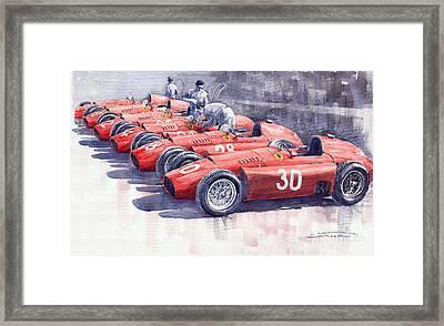 Team Lancia Ferrari D50 Type C 1956 Italian Gp Framed Print by Yuriy  Shevchuk