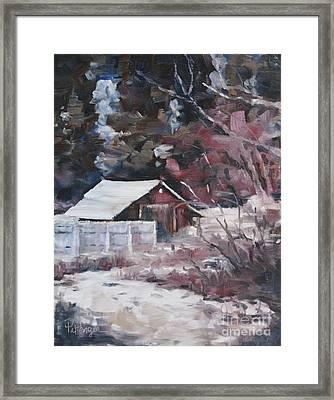 Teanaway Barn In Winter Framed Print by Lori Pittenger