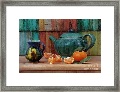 Teapot And Tangerine Framed Print by Luv Photography