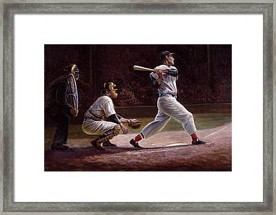 Ted Williams At Bat Framed Print by Gregory Perillo
