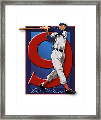 Ted Williams Framed Print by Ron Regalado