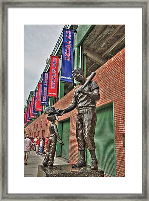 Ted Williams Statue At Fenway Park Framed Print by Joann Vitali