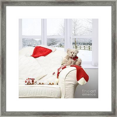 Teddy Bear On Sofa Framed Print by Amanda Elwell