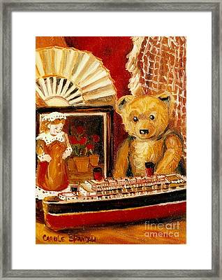 Teddy Bear With Tugboat Doll And Fan Childhood Memories Old Toys And Collectibles Nostalgic Scenes  Framed Print by Carole Spandau