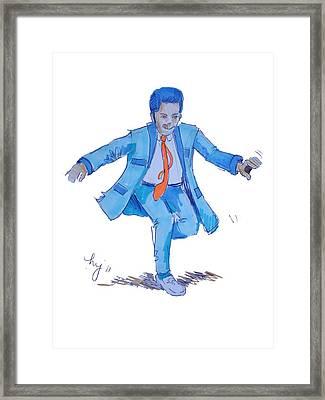 Teddy Boy Cartoon Framed Print by Mike Jory
