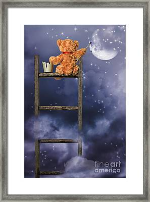 Teddy Painting At Night Framed Print by Amanda Elwell