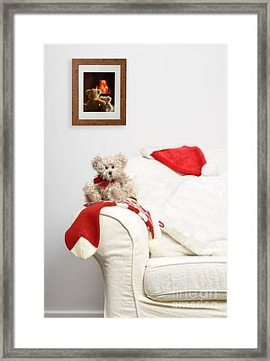 Teddy Waiting For Christmas Framed Print by Amanda And Christopher Elwell