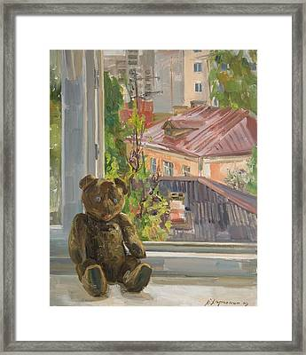 Teddy With Blue Eyes Framed Print by Victoria Kharchenko