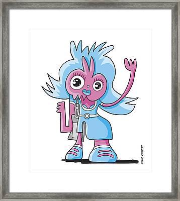 Teenage Beauty Doodle Character Framed Print by Frank Ramspott