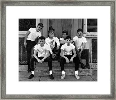 Teenage Boys On A Step Framed Print by Underwood Archives