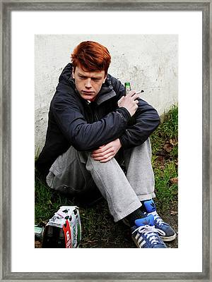 Teenager Smoking And Drinking Framed Print by Cordelia Molloy