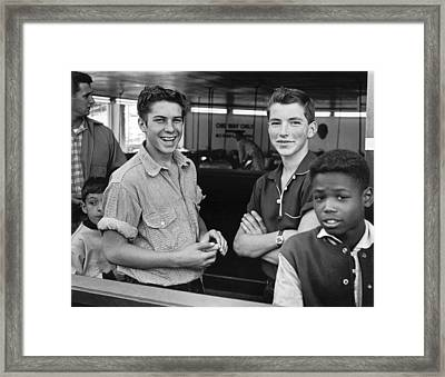Teens Hanging Out Framed Print by Underwood Archives