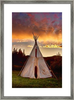 Teepee Sunset Portrait Framed Print by James BO  Insogna