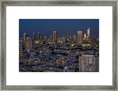 Tel Aviv At The Twilight Magic Hour Framed Print by Ron Shoshani